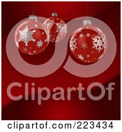 3d Red Snowflake Christmas Bauble Ornaments Over A Red Wave Background