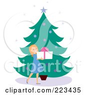 Royalty Free RF Clipart Illustration Of A Happy Girl Holding A Gift Box By A Christmas Tree
