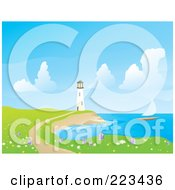Royalty Free RF Clipart Illustration Of A Sailboat Sailing Near A White Lighthouse With A Foot Path And Wildflowers