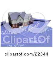 Clipart Illustration Of A Custom Two Story Residential Home Resting On Top Of Blueprints by KJ Pargeter