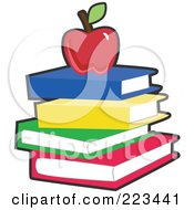 Royalty Free RF Clipart Illustration Of A Red Apple On A Stack Of Blue Yellow Green And Red Books by peachidesigns