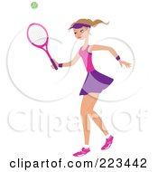Royalty Free RF Clipart Illustration Of A Dirty Blond Woman Playing Tennis