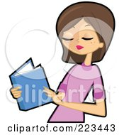 Royalty Free RF Clipart Illustration Of A Brunette Woman Reading A Blue Book by peachidesigns