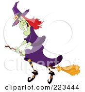 Royalty Free RF Clipart Illustration Of A Green Witch In A Purple Dress And Striped Stockings Flying On A Broomstick