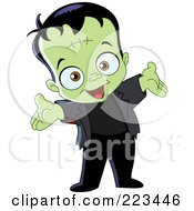 Royalty Free RF Clipart Illustration Of A Cute Little Frankenstein Holding Out His Arms by yayayoyo