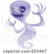 Royalty Free RF Clipart Illustration Of A Spooky Purple Ghost