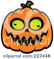 Royalty Free RF Clipart Illustration Of A Spooky Green Eyed Jackolantern by John Schwegel