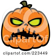 Royalty Free RF Clipart Illustration Of A Spooky Green Eyed Halloween Pumpkin by John Schwegel #COLLC223449-0127