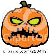 Royalty Free RF Clipart Illustration Of A Spooky Green Eyed Halloween Pumpkin