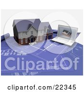 Clipart Illustration Of A Custom Two Story Residential House And A Laptop With An Architectural Program Resting On Top Of Blueprints