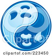 Royalty Free RF Clipart Illustration Of A Blue Yin Yang Of Ghosts by John Schwegel