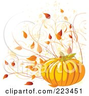 Royalty Free RF Clipart Illustration Of A Harvest Pumpkin With Autumn Leaves And Vines