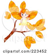 Royalty Free RF Clipart Illustration Of A Cute Baby Fairy On An Autumn Branch