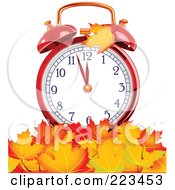 Royalty Free RF Clipart Illustration Of A Red Alarm Clock In A Pile Of Autumn Leaves by Pushkin