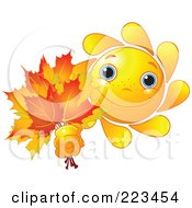 Royalty Free RF Clipart Illustration Of A Happy Sun Holding Out Autumn Leaves by Pushkin
