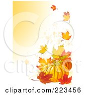 Royalty Free RF Clipart Illustration Of A Harvest Pumpkin With Fall Leaves
