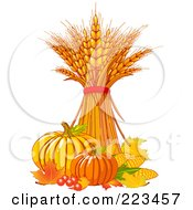 Royalty Free RF Clipart Illustration Of A Bundle Of Wheat With Harvest Vegetables