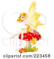 Royalty Free RF Clipart Illustration Of An Autumn Fairy Sitting On A Red Mushroom by Pushkin