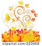 Royalty Free RF Clipart Illustration Of A Background Of Autumn Spirals And Leaves