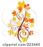 Royalty Free RF Clipart Illustration Of An Autumn Spiral And Leaves