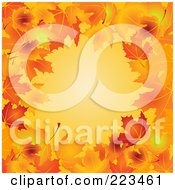 Royalty Free RF Clipart Illustration Of A Border Of Autumn Leaves Around Orange