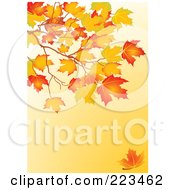 Royalty Free RF Clipart Illustration Of A Background Of Autumn Leaves On A Branch Over Orange
