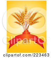 Royalty Free RF Clipart Illustration Of A Bundle Of Wheat With A Red Banner On Orange