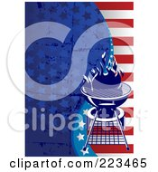 Royalty Free RF Clipart Illustration Of A Labor Day Or Independence Day Background Of Grungy Stars And Stripes With A Bbq by Pushkin