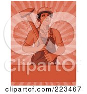 Royalty Free RF Clipart Illustration Of A Labor Worker Holding A Pick Over A Blank Box On A Grungy Red Burst Background by Pushkin