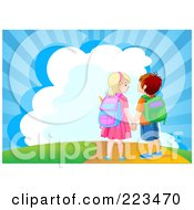 Royalty Free RF Clipart Illustration Of A School Boy And Girl Holding Hands And Walking Down A Path by Pushkin