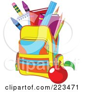 Colorful School Bag With An Apple And Supplies