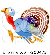 Royalty Free RF Clipart Illustration Of A Scared Turkey Running