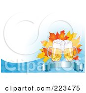 Royalty Free RF Clipart Illustration Of Oktoberfest Beer And Autumn Leaves Over A Blank Banner On A Blue And White Checkered Background