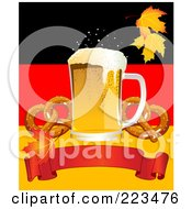 Royalty Free RF Clipart Illustration Of Oktoberfest Beer With Soft Pretzels Over A Red Banner On A German Background