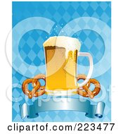 Royalty Free RF Clipart Illustration Of Oktoberfest Beer With Soft Pretzels Over A Blue Banner On A Checkered Background