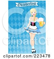 Royalty Free RF Clipart Illustration Of A Sexy Beer Maiden Serving Oktoberfest Beer On A Checkered Background