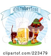Royalty Free RF Clipart Illustration Of A German Daschund Dog With Beer Under An Oktoberfest Banner