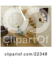 Chair And Ottoman Near A Plant On A Glass Table And Two Doors At The Base Of Stairs In A Living Room In A Modern Home