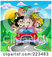 Royalty Free RF Clipart Illustration Of A Car Packed Full Of Family Members Driving On Vacation by visekart