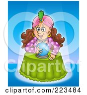 Royalty Free RF Clipart Illustration Of A Fortune Teller Lady Reading A Crystal Ball