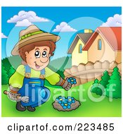 Royalty Free RF Clipart Illustration Of A Gardener Planting Blue Flowers