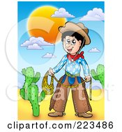 Royalty Free RF Clipart Illustration Of A Western Cowboy Holding A Lasso In A Desert by visekart