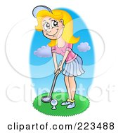 Royalty Free RF Clipart Illustration Of A Beautiful Blond Woman Golfing by visekart
