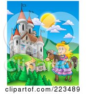 Royalty Free RF Clipart Illustration Of A Princess On Her Horse Near A Castle