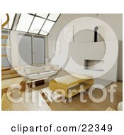 Clipart Illustration Of A Wood Coffee Table And A Beige Sofa In Front Of A Fireplace On Wood Flooring Under Sky Lights In A Living Room In A Modern Home