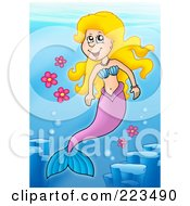 Royalty Free RF Clipart Illustration Of A Blond Mermaid Swimming With Flowers