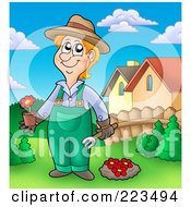 Royalty Free RF Clipart Illustration Of A Gardener Planting Red Flowers