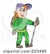 Royalty Free RF Clipart Illustration Of A Male Hiker Using A Stick