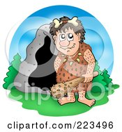 Royalty Free RF Clipart Illustration Of A Cave Man Holding A Club By A Cave