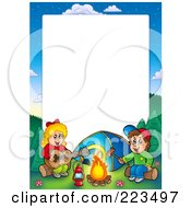 Royalty Free RF Clipart Illustration Of A Boy And Girl Camping Border Frame Around White Space